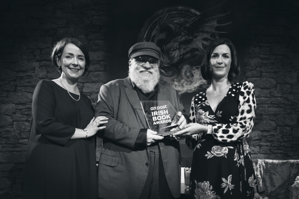 Game of Thrones Author George R.R Martin receiving an An Post Irish Book Award Trophy