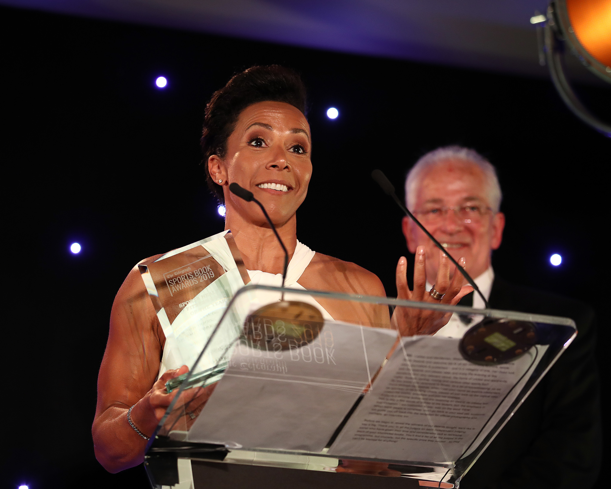 Winner of the Health & Fitness Book of the Year, Dame Kelly Holmes makes her acceptance speech during the Sports Book Awards at Lord's Cricket Ground on June 04, 2019 in London,
