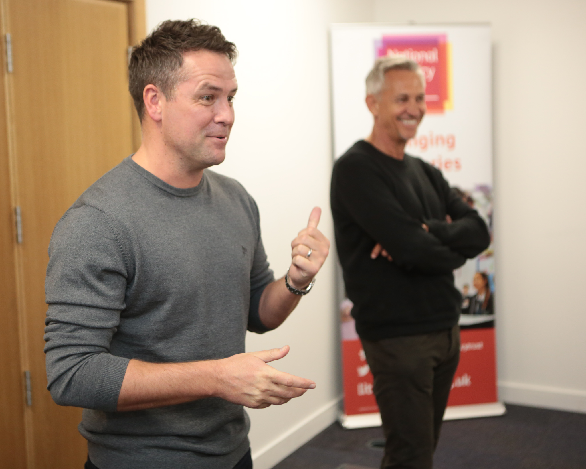 Michael Owen and Gary Lineker at the Sports Book Awards event for The National Literacy Trust