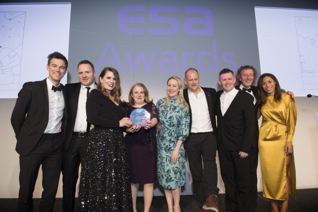 Agile Creative Director Alastair Giles with An Post Irish Book Awards Sponsorship Manager Louise Cronje and the Core team at the European Sponsorship Awards