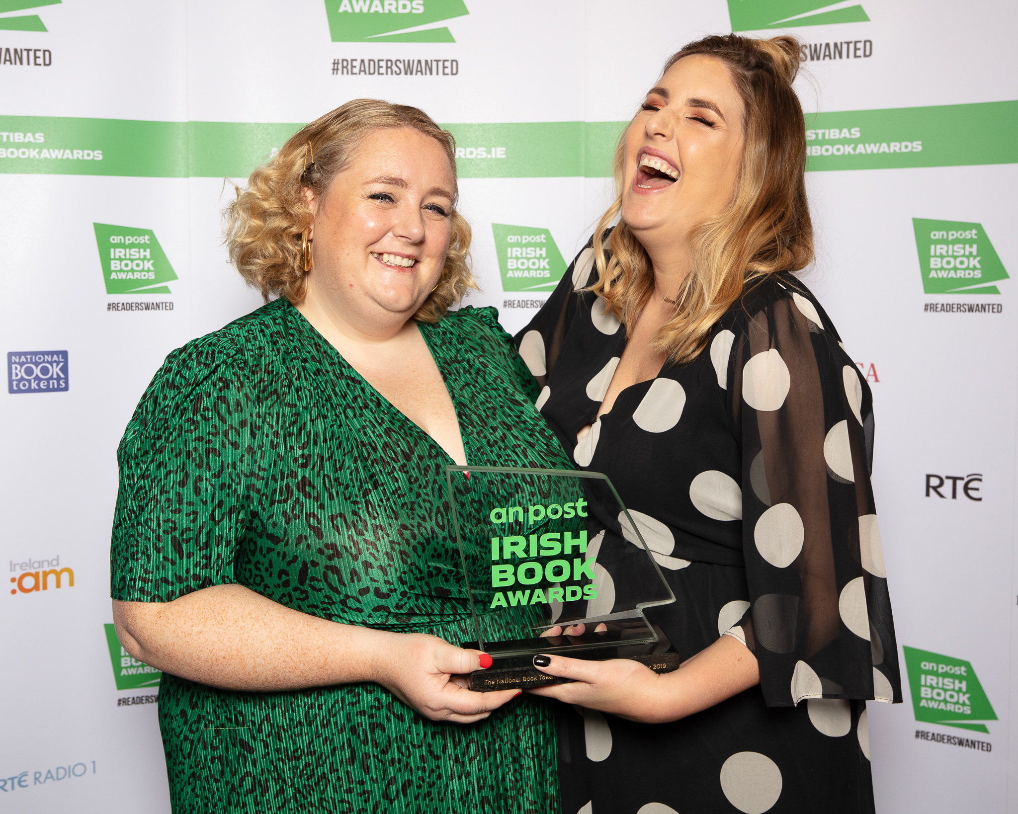 "Emer McLysaght and Sarah Breen (Gill Books) winners of the National Book Tokens Popular Fiction Book of the Year for ""Once, Twice, Three Times an Aisling"" pictured at the An Post Irish Book Awards"