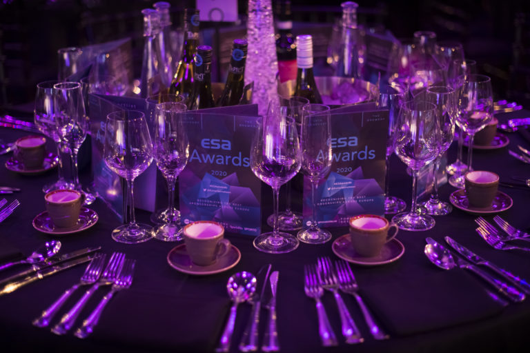 Table settings at the ESA Awards 2020